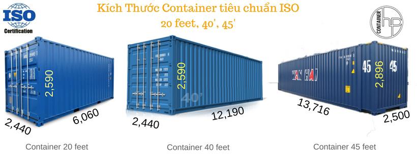 Kích cỡ tiêu chuẩn của các loại container của Hưng Phát